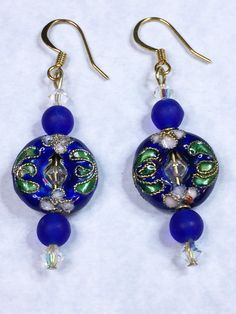 COBALT Blue Cloissone Drop Earrings by AjaBoutique on Etsy