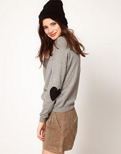 ASOS – Pullover mit herzförmigen Ellenbogenflicken