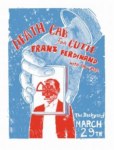 """Death Cab for Cutie & Franz Ferdinand Poster  at The Backyard- Austin, TX  Hand made silkscreen print  Size 18.5"""" X 25""""  Hand signed & Numbered Edition of 75  Artist: Bryan Keplesky"""