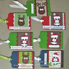 Christmas owl punch gift voucher holders Discover Ink – Ann Gerlach Independent Stampin' Up!® Demonstrator