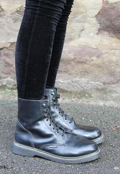 90's Leather Grunge Ankle Boots UK 8