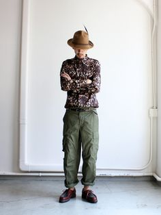 Japanese fashion, leopard print shirt and olive drab fatigue pants finished off with a pair of Paraboots!