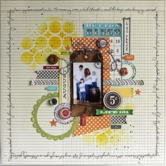 Life 101 Layout by Ronda Palazzari using Jillibean Soup's Patterned Papers (Country Pumpkin Chowder, Soup Staples II), Grandma's Lima Bean Soup Coordinating Cardstock Stickers and Pea Pod Parts, Soup Labels, Kraft Tags, Cool Beans, Baker's Twine and Priceless Banner Bites (via the Jillibean Soup blog).