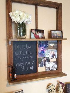 Reclaimed window shelf chalkboard by TKLdecor on Etsy