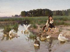 """Nikolai Kornilievich Bodarevsky (1850-1921), """"Ukrainian Girl Tending Geese"""""""