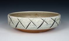 Matthew Krousey created this Lattice serving bowl, soda-fired stoneware, slips, glazes, 2016. This is found in the July/August 2016 issue of Pottery Making Illustrated.