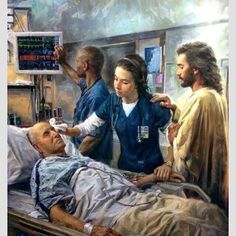 I love this picture. It so depicts what I felt when I worked in the ER and the silent prayers I would say over each and every person I helped to care for. He is with us.