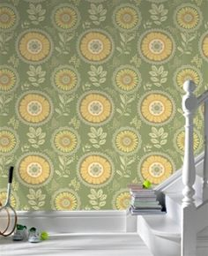 Green and Terracotta Lacework Wallpaper - Graham and Brown
