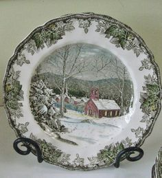 Vintage Johnson Brothers Dinner Plates set of 2 The Friendly Village The School…
