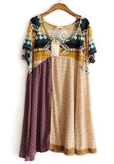 Beige Patchwork Geometric Irregular Cotton Dress