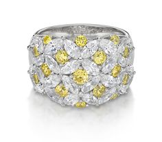 Monte Carlo Solei Ring  Platinum on Silver Brilliant and Marquise Cut Ring in Canary Yellow and White Stones $295