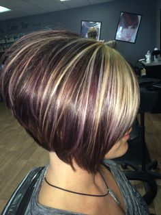 Red violet color with added highlights for dimensions and a few bold bang splices for the WOW factor. #hairbytana