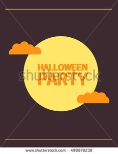 Happy Halloween and party  with clouds. A vector flat style with the text and pumpkin with the raging copper. The leaflet, a banner, a poster, for the holiday Halloween.