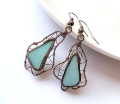 Stained glass earrings copper wire jewelry by ArtemisFantasy