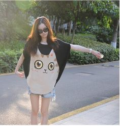 2014夏韩版可爱卡通印花猫头柔滑亲肤大码短袖上衣女蝙蝠衫女T恤