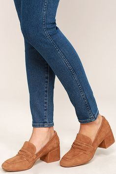 Chinese Laundry Marilyn Camel Suede Leather Block Heels 2