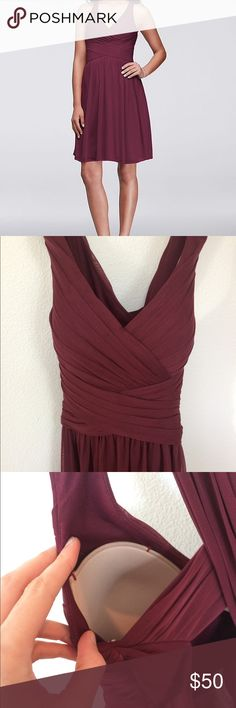 Short mesh cross-back bridesmaid dress in wine Size 8 David's Bridal bridesmaid dress in wine. Altered to add sewn in bra cups (yay!) and slightly shorten straps. Runs small but is stretchy. I usually wear a size 6 but this fit well. Worn once. http://www.davidsbridal.com/Product_mesh-short-bridesmaid-dress-with-crisscross-back-w11480#close David's Bridal Dresses
