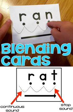 Blending Cards for Kindergarten, first and second grade reading. The cards can be used for instruction for kindergarten and first grade and and RtI for second grade. The cards are set up so that students: 1. Say the sounds • • • (with the large dots) 2. Blend the sounds (with the dotted lines) 3. Say it fast (with the arrow)