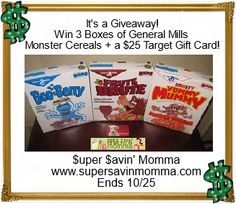 GIVEAWAY $$ Win 3 Boxes of General Mills Monster Cereals + a $25 Target Gift Card! #MyBlogSpark General Mills, Something Wicked, Random Items, Win Prizes, Winner Winner, Cooking Ideas, Giveaways, Monsters, Cereal