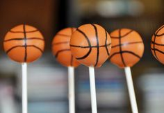 Basketball cake pops. Gotta do these for my son! He would love them!  Looks like they used an edible marker for the lines