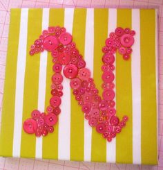 Baby Nursery Wall Art, Button LETTER N on SILK, Children Wall Art, Nursery Wall Decor, Ready-to-Frame or Wall Canvas (frame not included)