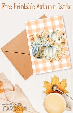 Free Printable Cozy Fall Cards in Two Designs Free Thanksgiving Printables, Thanksgiving Greeting Cards, Fall Cards, Free Printable Tags, Free Printables, Printable Quotes, Pretty Cards, Fall Halloween, Card Making