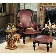 Victorian Rococo Faux Leather Wing Chair and Ottoman Was: $349.00 Now: $299.00