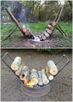 Self sustaining fire feeder! Just load it up with logs. So cool. I gotta make one for next camping trip. ^_^