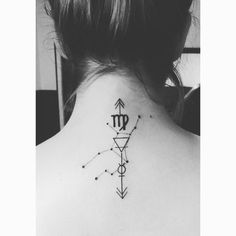 Virgo tattoo by Abel Garcia in Gruta tattoo #Virgo #Constelation #constelacion #earth #tierra #mercury #mercurio #neck #cuello #ink #tattoo #tatuaje #simbol #simbolos #horoscopo #horoscope