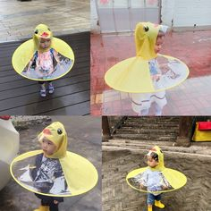 UFO Yellow Duck Rain Coat Cover baby rain poncho Children Raincoat Funny kids clothing Outdoor Play at Raincoat Outfit, Dog Raincoat, Hooded Raincoat, Funny Duck, Funny Kids, Cute Kids, Rain Hat, Rain Poncho, Ufo
