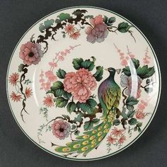 """Exotic Garden"" china pattern with peacock from Myott Staffordshire."