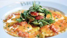 Lobster & Shrimp Ravioli with Crab Insalata- With lemon vinaigrette, a Limoncello butter sauce, tomato capote and arugula