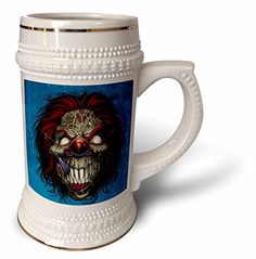 3dRose Dark Evil Clown Zombie Illustration  Comic book style illustration of an evil clown  22oz Stein Mug stn_252438_1 ** Be sure to check out this awesome product.Note:It is affiliate link to Amazon.