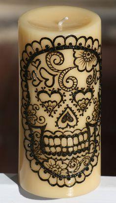 Henna Sugar Skull Pillar Candle,Yellow, Day of the Dead, Dia de los Muertos