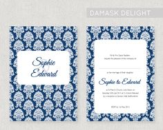 A romantic and ornate damask design, printed onto lovely 320gsm textured card, double sided. The design can be adapted to a colour of your choice for free! From £2.20 per invite. www.fairyfrog.co.uk