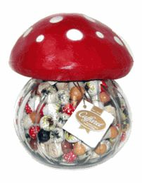 In my dreams, but come on.  How cute is this?  A giant mushroom jar filled with chocolate truffles shaped like mushrooms?  I can't imagine anything much better.