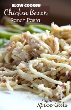Slow cooker chicken ranch pasta  (9/12/15) If I make this again (debatable) I will cook the garlic with the bacon before adding it to the sauce. I think that will change the flavor in a better way. Also, maybe add some mozzarella or Parmesan cheese. Ranch dressing and bacon flavor were nearly non-existent.