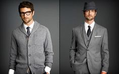 Banana Republic designed some clothes based on the TV show Mad Men. Freaking want a grey suit like that, and the sweater is pretty pimp as well