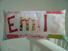 Personalised Girl's Cushion with Patchwork Border  by CraftyBearUK, £19.95