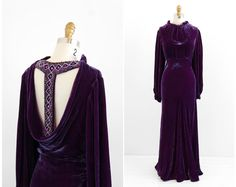 vintage 1930s dress / 30s evening gown / Purple Silk Velvet Evening Gown with Plunging Bejeweled Back