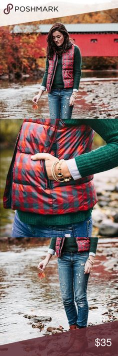 Gap red buffalo plaid puffer vest How perfect is this for fall?!! Great used condition. Super warm and cozy. It needs a new home that will use it! Snap and zipper front. True to size. GAP Jackets & Coats Vests