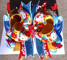"Funky ""Hello"" Kitty Boutique Hair Bow - Bow Meets Girl"