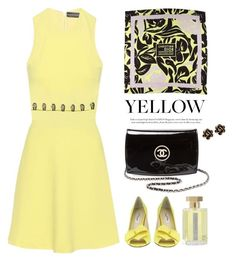 """""""Yellow Dress"""" by miee0105 ❤ liked on Polyvore featuring David Koma, Nina, Christian Dior, Chanel, Chantecler and L'Artisan Parfumeur"""