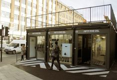 22 Most Beautiful Houses Made from Shipping Containers: London's first Pop-Up Shipping Container Mall Opens in Shoreditch. Shipping Container Store, Shipping Container Buildings, Shipping Container Home Designs, Container House Design, Shipping Containers, Container Cafe, Container Office, Cargo Container, Container Restaurant