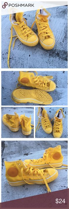 Converse Chuck Taylor High Tops Clean & good to go bright yellow chucks Converse Shoes Athletic Shoes