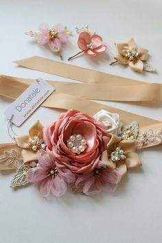 Vintage Headbands, Baby Headbands, Faux Flowers, Fabric Flowers, Gift Wraping, Gold Champagne, Baby Girl Bows, Wedding Sash, Ribbon Art
