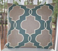 Designer Decorative Pillow Cover - Slate Blue Grey Quatrefoil Trellis 22 x 22 - Blue Geometric Pillow - Throw Pillow. $46.00, via Etsy.