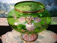 Green Gold Bohemian Czech Blown THICK 24k Gold Rose BIG Vase Compote Candy Dish