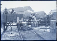 Women loading shells onto track car in Coalville, February 1919 Glass plate negative Lest We Forget, General Hospital, Wwi, The Locals, Shells, February, Castle, Track