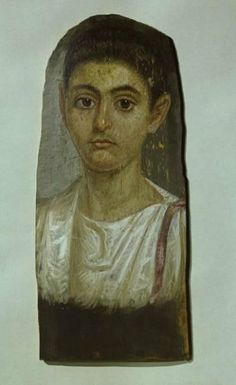 Mummy-portrait of a youth  Roman Period, c. AD 100  Egypt  Wax encaustic on wood panel  h. 40.3 cm   UEA 326  Sainsbury Centre for Visual Arts